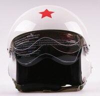 Nova dupla viseiras da força aérea jet piloto rosto aberto motocicleta scooter branco vespa capacete