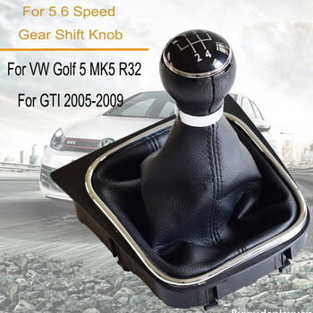 Car 5 6 Speed Gear Shift Stick Lever Headball Dust-Proof Leather Cover For Volkswagen VW Golf MK6 Jetta MK5 Accessories