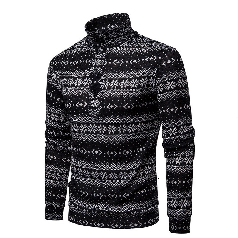 Men's Sweater Pullover Snow Printed Winter Warm Long Sleeve 2019 Winter Warm Christmas Knitwear Turtleneck Sweatercoat