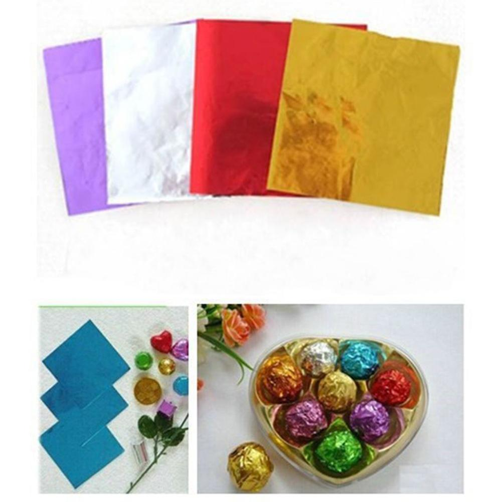 100Pcs Multi-color Aluminum Foil Candy Paper Chocolate Sweets Package Wrappers  Birthday Party Bright Color