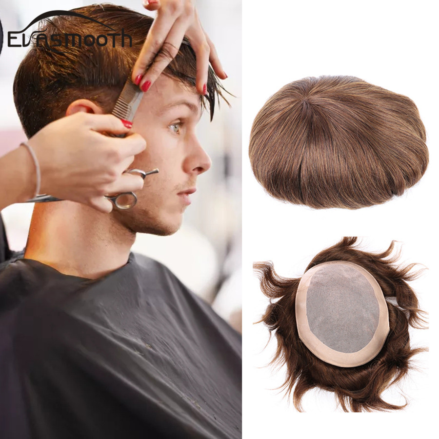 Men <font><b>Wig</b></font> Hair Pieces Men Toupee <font><b>Lace</b></font> Pu Front <font><b>Wig</b></font> Indian Human Hair <font><b>Wig</b></font> Remy Hair Replacement Small Real Hair Piece Free Shipping image