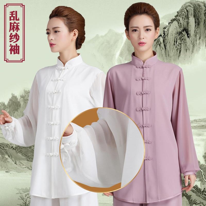 2019 China Style Chiffon Mandarin Collar Tang Suit Martial Arts Tai Clothing Jiu Jitsu Wushu Kung Fu Uniform Tai Chi Suit