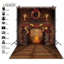 Laeacco Рождественские фоны для камина чулки венок деревья винтажный