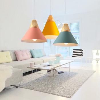 Pendant Lights Modern Wood Pendant Lamp Nordic Style For Cafe Restaurant Bedroom Kitchen Colorful Hanging Living Room Dining 3