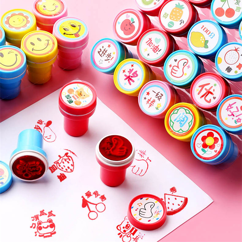 Warmom 10Pcs/Set Ink Pad Stamp Kids Toys Cartoon Printing Set Scrapbooking Accessories Child Early Educational Toys Kids Gifts