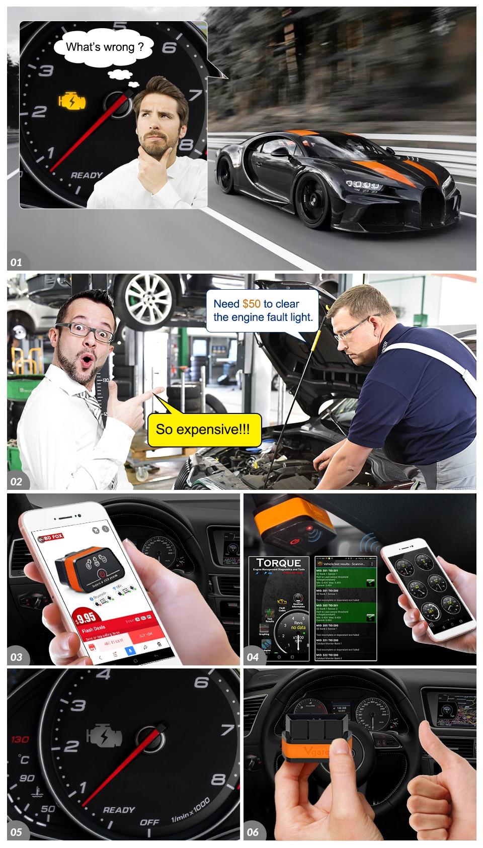 Vgate iCar 2 ELM327 Wifi/BT OBD2 диагностический инструмент для IOS iPhone/Android Icar2 Bluetooth-совместимый wifi ELM 327 OBD кодовый считыватель   Автомобили и мотоциклы   АлиЭкспресс