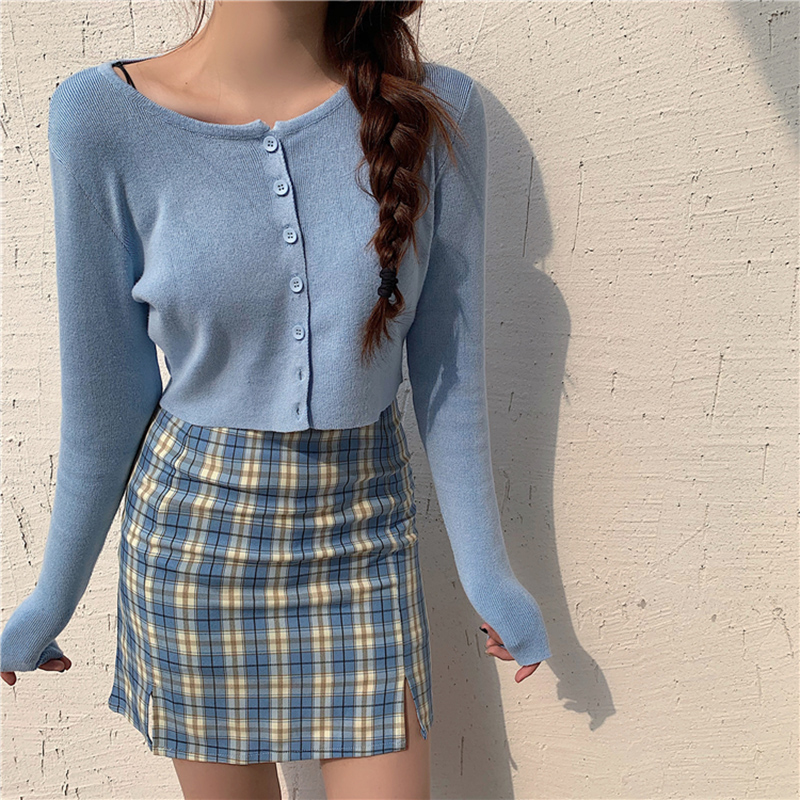 Spring Two Piece Set Women Knitted Cardigans Crop Tops And Plaid Mini Skirts Set 2 Piece Set Tracksuit 2 Piece Outfits For Women