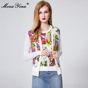 Image 2 - MoaaYina Lente Herfst V hals Lange mouwen Breien Tops vrouwen Elegante Bloemen Print Zijde Trui Dunne Jas