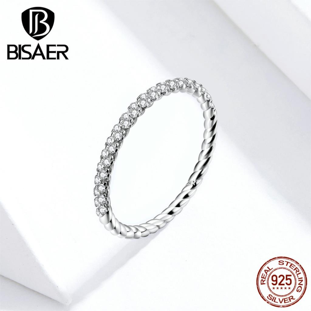 Wedding Simple Rings BISAER 925 Sterling Silver Clear Cubic Zircon Finger Rings For Women Sterling Silver Jewelry ECR624