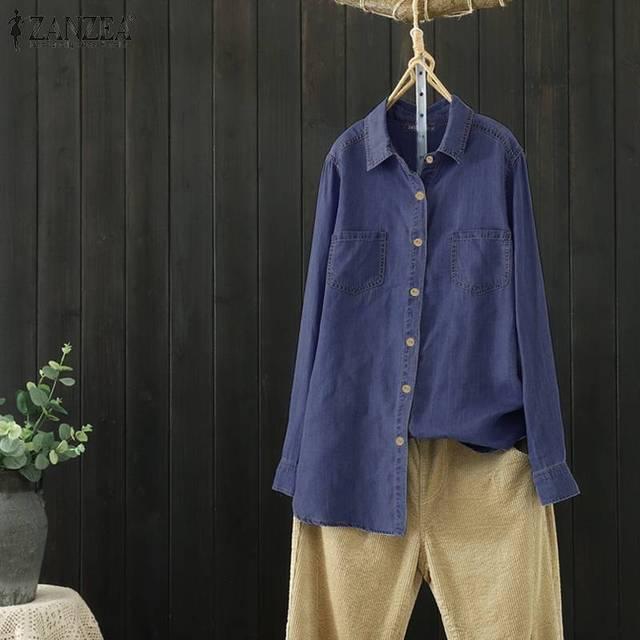 Cotton Linen Denim Blue Shirt 3