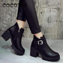 Short Tube Thick With Martin Boots New Autumn/winter 2019 Plus Velvet Warm British Female Shoes30
