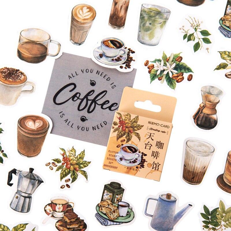 46 stücke Auf Dem Dach cafe Aufkleber box Vintage kaffee Aufkleber DIY Dekoration Scrapbooking Aufkleber Büro Schule Versorgung Für Kinder