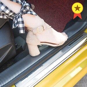 Image 1 - Karbon Fiber kauçuk kalıplama şerit yumuşak siyah Trim tampon şeritler DIY kapı eşiği koruyucu kenar koruyucu araba Styling araba çıkartmalar 1M