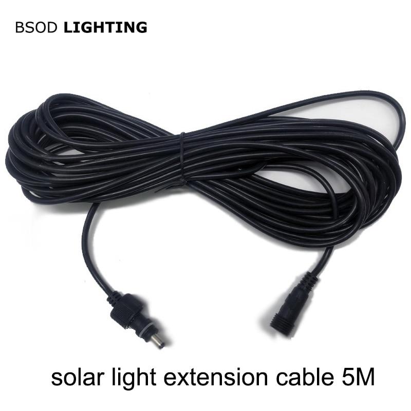 Bsod cabo de extensão de luz solar led 5 metros cabo de alimentação impermeável dc5.5x2.1mm conector fêmea macho para lâmpada solar