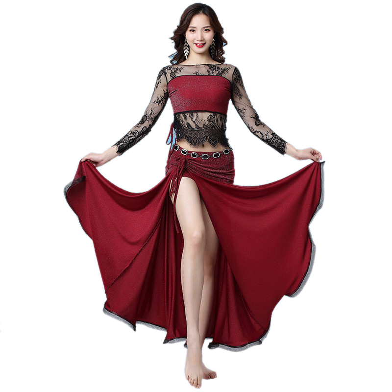 2pcs Women Belly Dance Costume Set Long Sleeves Floral Lace Top And Skirt Bellydance Training Clothes Oriental Dancing Outfit
