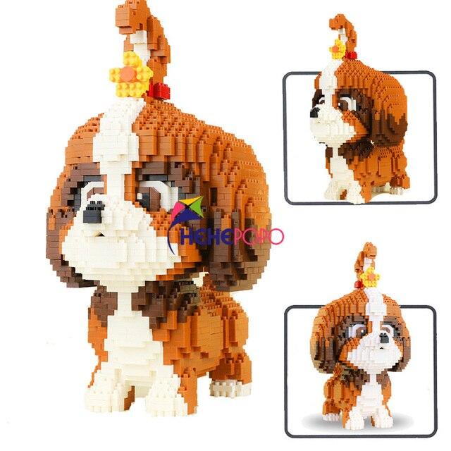 2100 قطعة 16128 الماس كتل شيه تزو الكلب نموذج صغير الطوب لعبة الدشهند التجمع عمل الشكل الاطفال اللعب هدايا الأطفال
