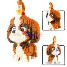 Bloques de construcción de perro en miniatura Shih Tzu para niños, 2100 Uds., 16128, bloques de diamante, perro en miniatura, ladrillos pequeños, juguete de perro salchicha, figuras de acción, juguetes para niños, regalos