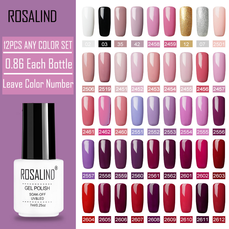 (12PCS/SET)ROSALIND Gel Nail Polish Set For Nail Art  UV LED Lamp Design Acrylic Nail Extention Color Nail Manicure Set