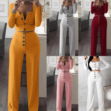 fashion white two pieces set women knitted tracksuit sleeveless strapless crop pants and sexy top 2 pieces sets women outfits cheap feitong REGULAR Ankle-Length V-Neck Button Fly Polyester Pullover Casual Full NONE Women s set Full Length Solid