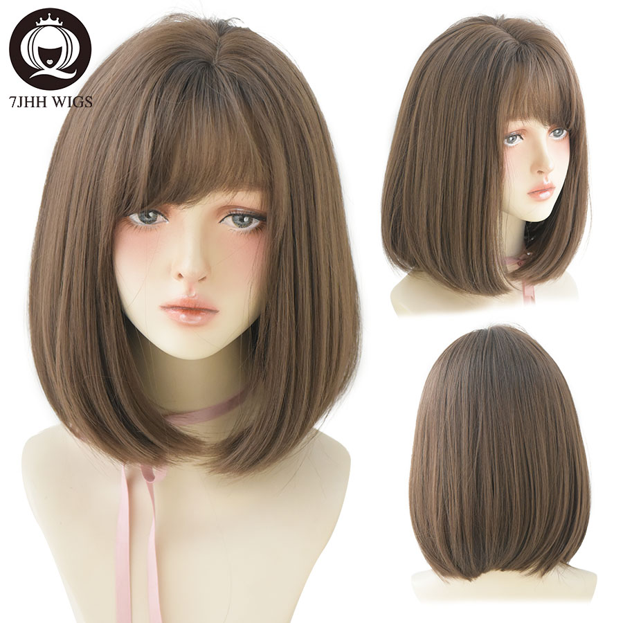 7JHH WIGS Omber Brown M Wigs With Side Bangs For Girl Bob Straight Hair Fashion Noble Heat Resistant Synthetic Wigs For Women