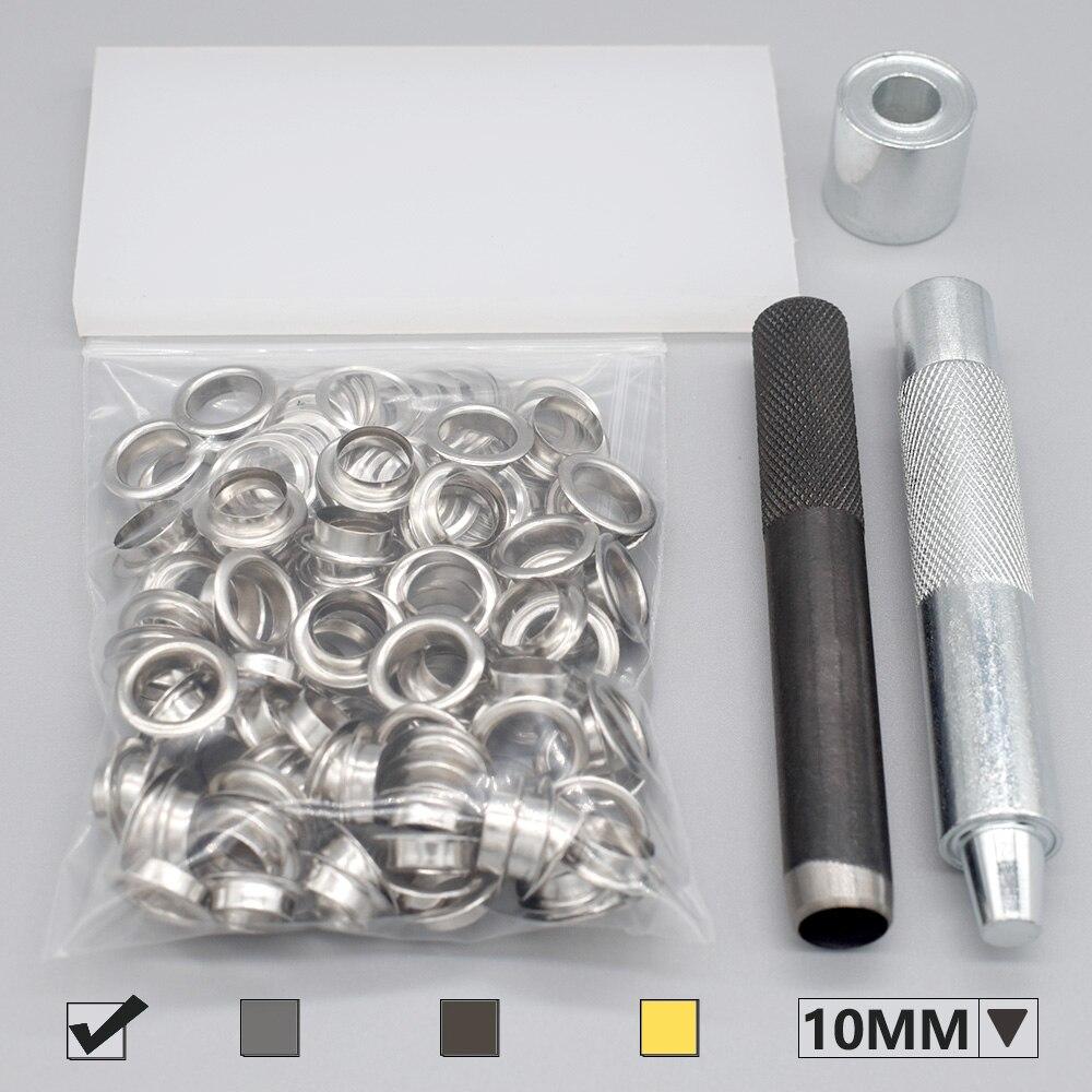 100 наборов металлических люверсов с 3 в 1 Набор инструментов включает в себя планку, Дырокол и молоток, DIY объемный для одежды аксессуары