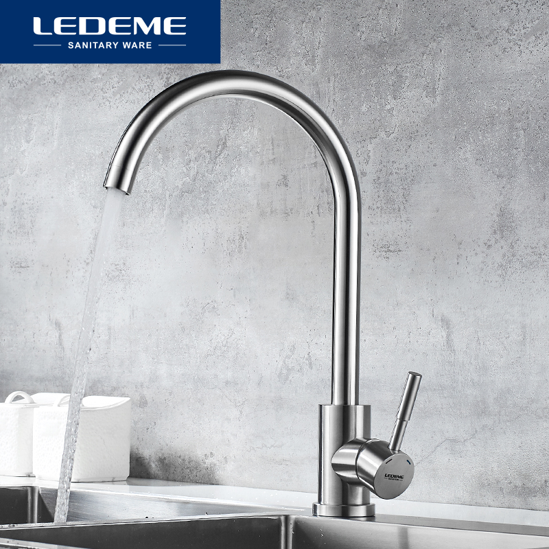 LEDEME Stainless Steel Kitchen Faucet Tap Water Mixer Simple Ceramic Kitchen Tap Crane Cucina Ottone Torneira L74998A-3