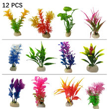 12 pçs nova artificial planta subaquática aquário tanque de peixes decoração verde roxo água grama visão decorações