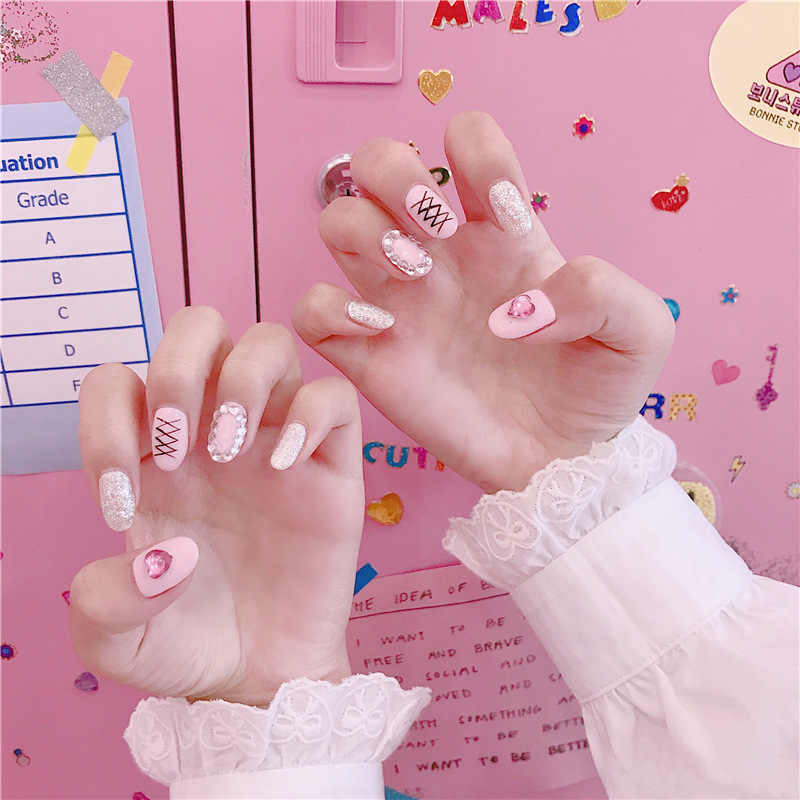 24 Pcs DIY Nail Salon Goods Gloss Shine Pink Short False Fake Nails With Beaded Full Tips Finger Nails Decoration