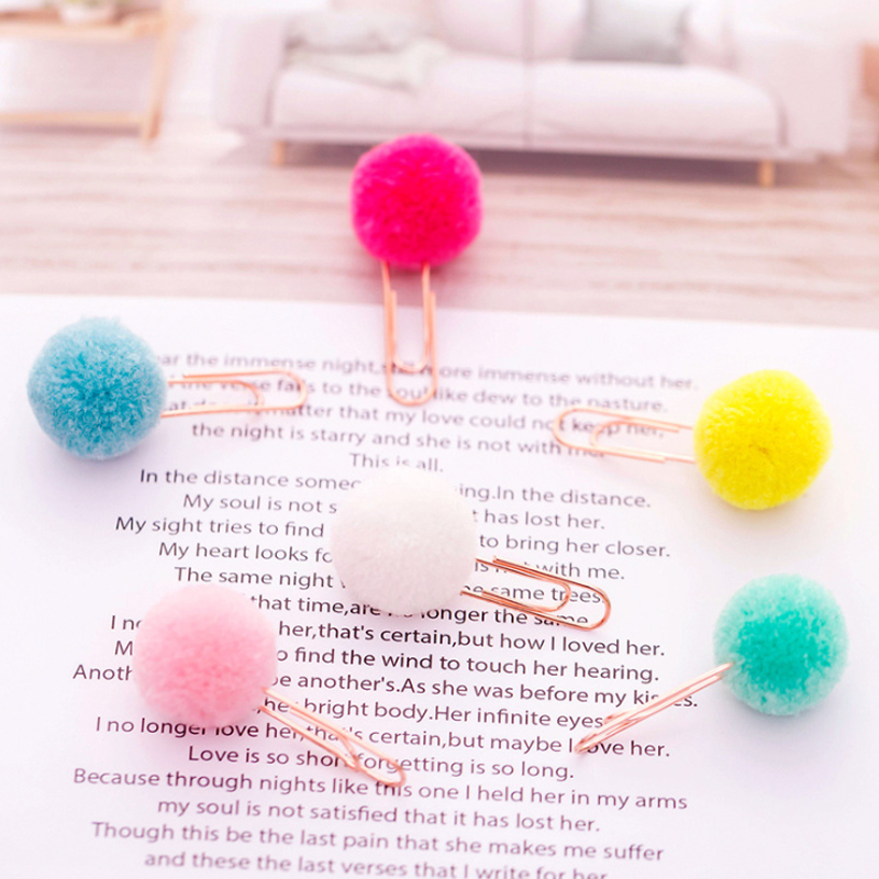 10pcs/lot Kawaii Bookmarks Colored Hairball Paper Memo Clips For Books Decoration Bullet Journal Clips Office Stationery Favor