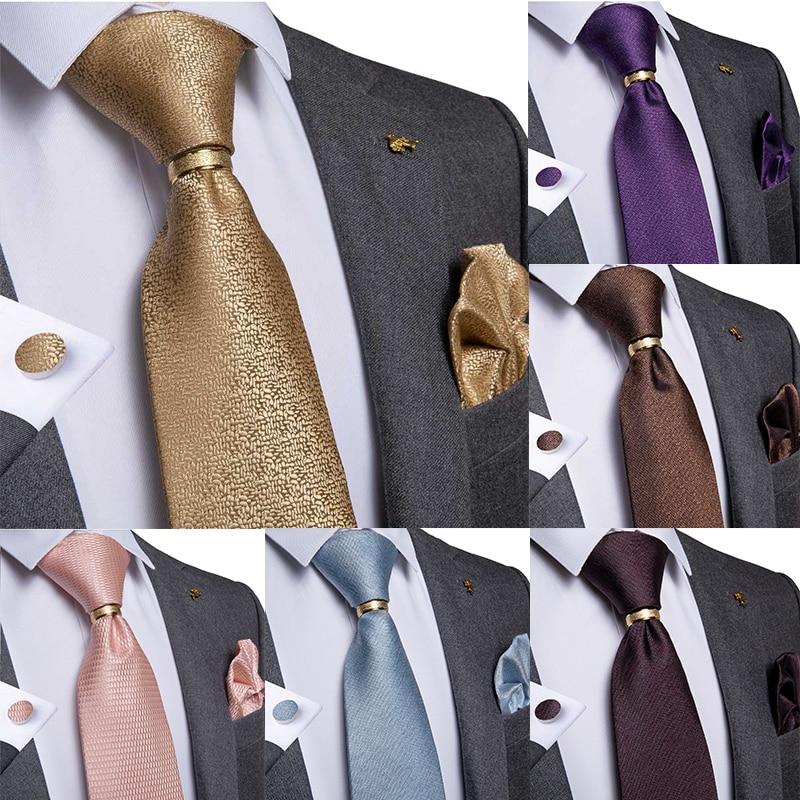 Men Tie Gold Blue Red Green Solid Quality Silk Wedding Tie For Men Tie Ring Hanky Cufflink Business Gift Tie Set DiBanGu Design