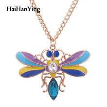 Fashion Alloy Rainbow Dragonfly Women Necklace Cartoon Pendant Party Clavicle Chain Luxury Jewelry Charm Declaration
