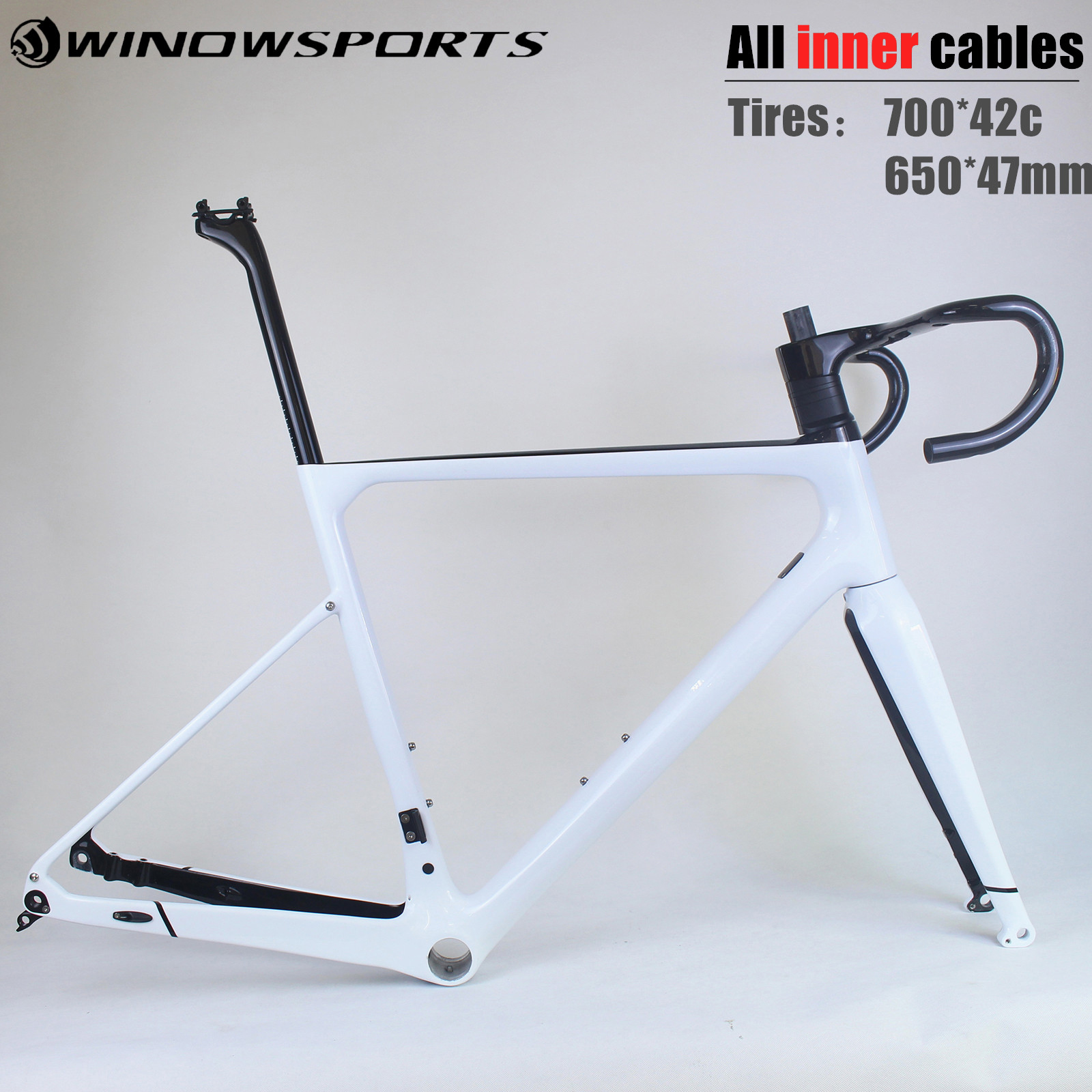 2020 New Carbon Gravel Bike Frame All Inner Cables Cyclocross Gravel Carbon Bicycle Frame Thru Axle 142*12 Max Tires 700*42c