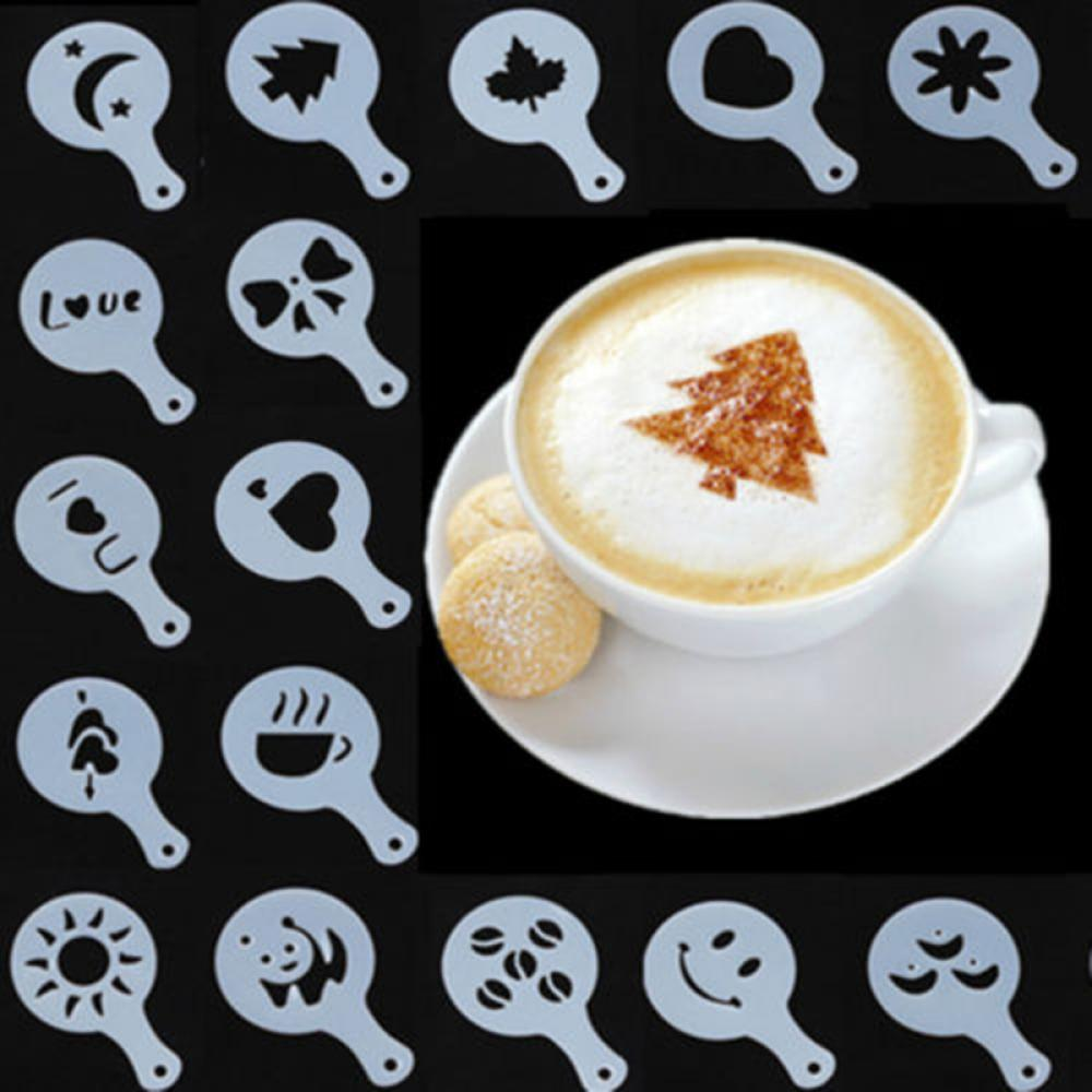 New 16pcs  Cake Duster Templates Coffee Stencils Latte Cappuccino Barista Pull Flower Art Stencils Drawing Molds Printing Model