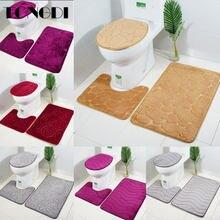 Tongdi conjunto de tapete decorativo, conjunto de banheiro, tapete veludo macio antiderrapante com elástico para decoração, de banheiro