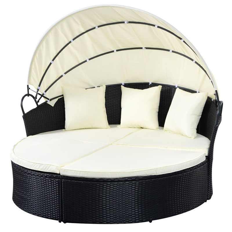 Elegant กลางแจ้ง Patio หวายรอบ Retractable Canopy Daybed Infinitely Reconfigurable ที่นั่งเบาะนุ่มหมอน Patio โซฟา