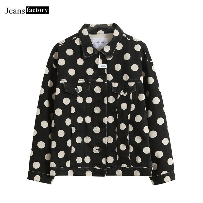 Spring Autumn Fashion Dot Printing Long Sleeve Single-breasted Turndown Collar Washed Denim   Jacket   Women   Basic   Coat Windbreaker