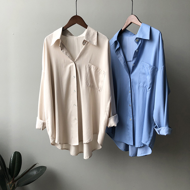 2020 Women Boyfriend Style Spring Blouses Turn Down Collar Pure Color Womens Tops And Blouses White Shirt Blusas Roupa Feminina