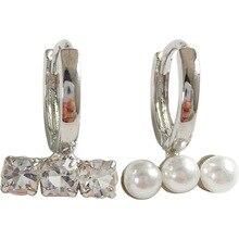 Korean jewelry asymmetric earrings pearl zircon earrings delicate women jewelry for girl student gifts delicate fashion jewelry sweet love earrings simple hollow stud small pearl earrings students women jewelry girl student gifts