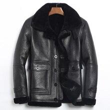 Кожаная мужская куртка с натуральным мехом, зимняя куртка, Мужская шуба из овчины, теплая шерстяная куртка, Jaqueta De Couro 185-1 YY708