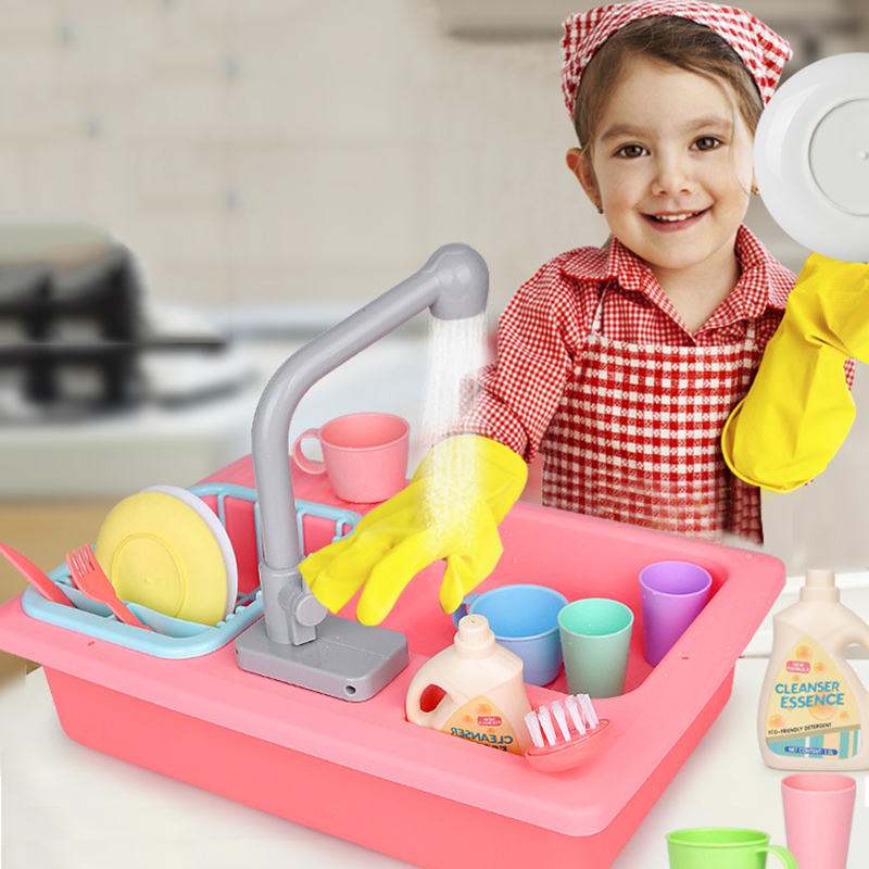 Kid Kitchen Set Toy Simulated Electric Dishwasher Table Plastic Pretend Play Kitchen Toys Set Safe Cute Children Girl Toy Gift