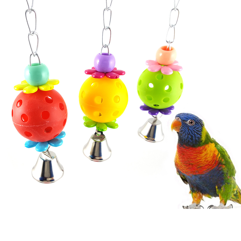 Pet Bird Chew Bite Toys Plastic Colorful Ball with Bell Bird Cage Hanging Swing Toys Parrot Parakeet Mouth Grinding Popular Toys