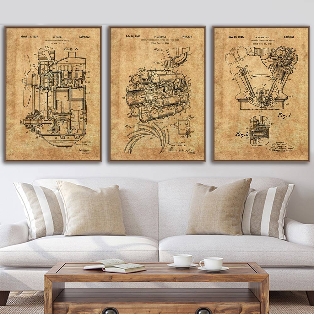 Car Engine Vintage Poster Airplane Jet Engine Internal Combustion Engine Patent Abstract Canvas Painting Pictures Home Decor image