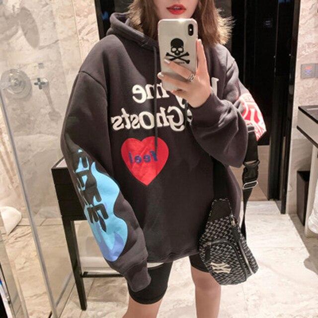 Kanye West Graffiti Letter Print Plus Velvet Sweatshirt Men Harajuku Fleece Hoodie Hip Hop Stranger Things Hooded Hoodies 6