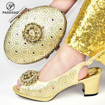 2020 Gold Color Super High Heels African Shoes with Matching Bags Set Shoe and Bag Set for Party In Women with Shinning CrystaL