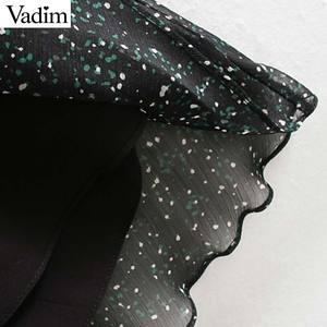 Image 5 - Vadim femmes élégant imprimé robe midi à manches longues taille élastique ceinture conception femme décontracté confortable mi mollet robes vestidos QD149
