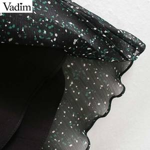 Image 5 - Vadim נשים אלגנטי הדפסת midi שמלה ארוך שרוול אלסטי מותניים חגורה עיצוב נקבה מקרית מפנק אמצע עגל שמלות vestidos QD149