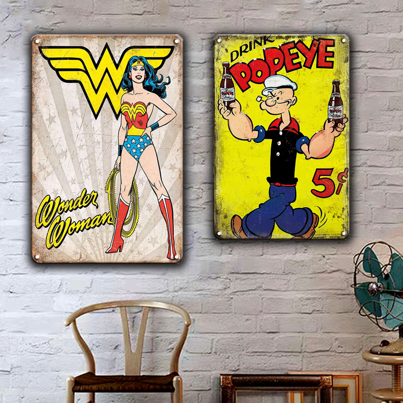 MARVEL COMICS Cartoon Metal Sign Vintage WONDER WOMAN IRON MAN Art Poster Tin Plates Children Bedroom Baby Living Room Decor