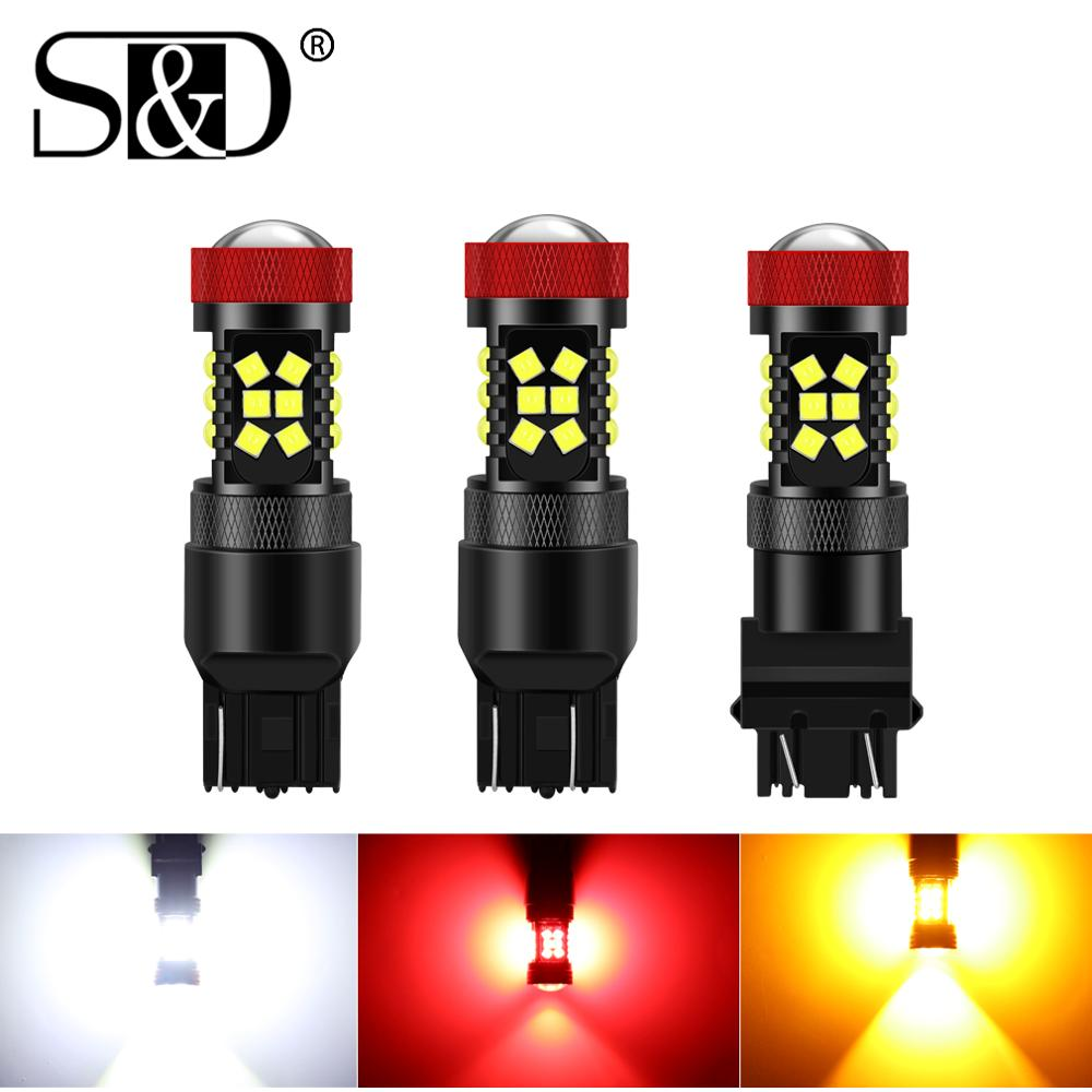2pcs 12V T20 7440 W21W Led 7443 W21/5W Led Bulbs Canbus No Hyperflash Light T25 3157 P27/5W Car Brake Tail Light 6000K image