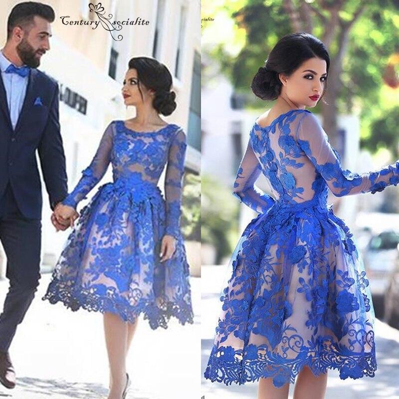 Manches longues robes de Cocktail courtes robes de soirée genou longueur Appliques haut transparent Dubai arabe femmes robes formelles moyen-orient