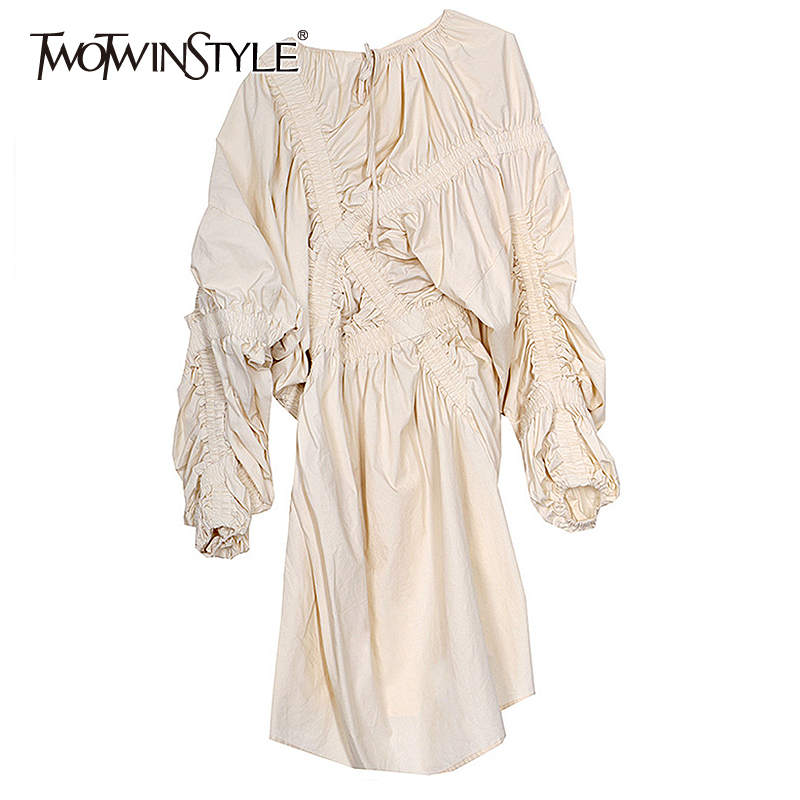 TWOTWINSTYLE Asymmetrical Patchwork Ruched Dress For Women O Neck Puff Sleeve High Waist Dresses Female 2020 Spring Fashion New